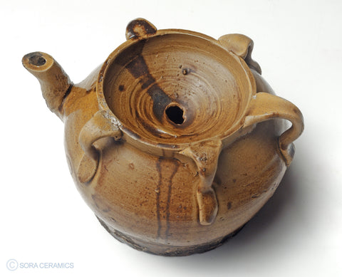 Suiteki (water dropper), brown glaze