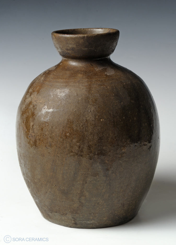 pottery large jar, brown streaked glaze