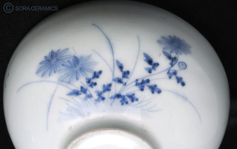 white bowls with blue floral design