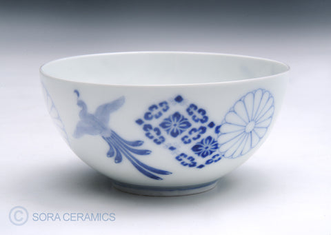 white bowls with blue floral designs