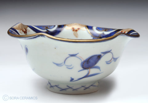 Imari small bowl, deep blue and white, 5-lobed rim