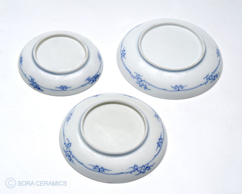 white plates with blue floral designs