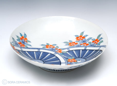 blue mill wheels and red blossoms on white Nabeshima bowl