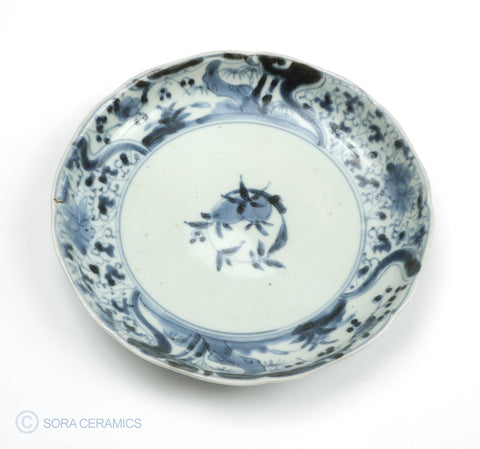 old Imari blue and white plate