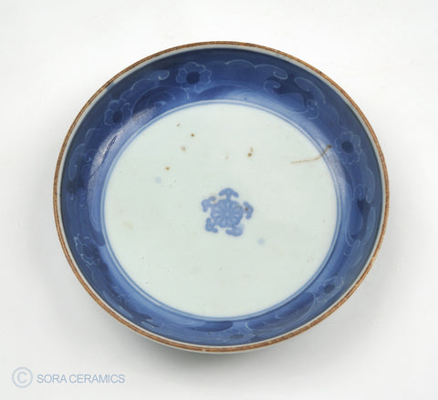 old Imari dish, deep blue banded rim on white