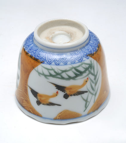 Imari choko cup, blue and white, bird motifs