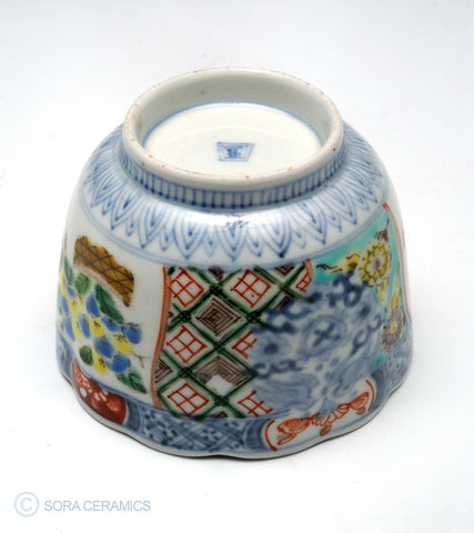 Imari choko cup polychrome designs, blue and white