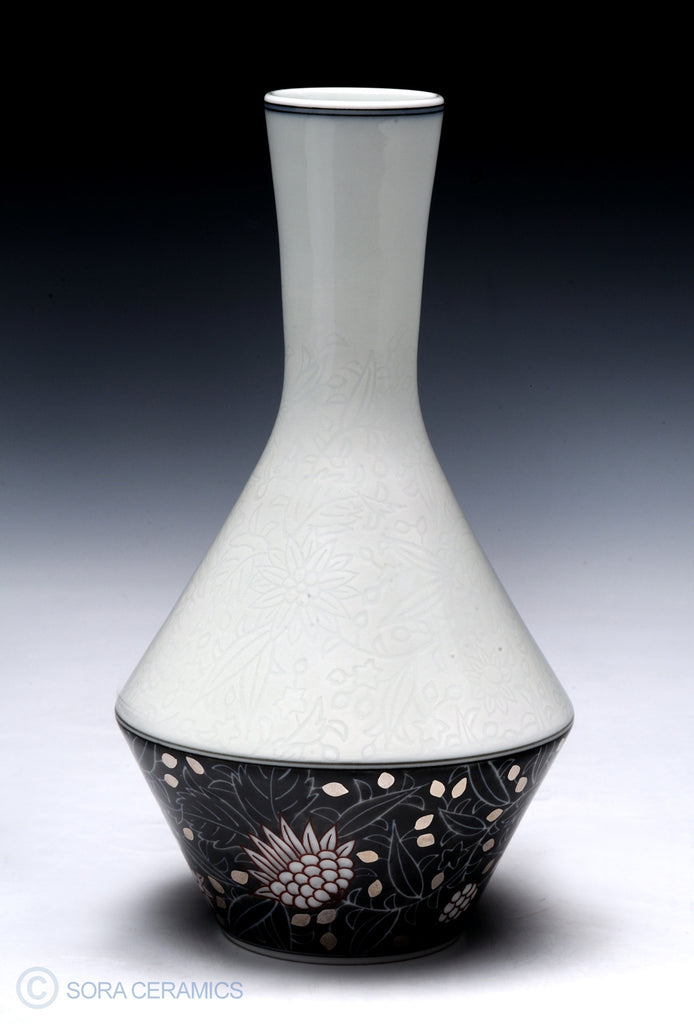 white porcelain vase, dark base