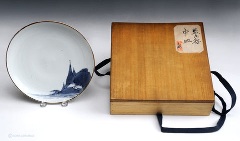 Ai-Kutani porcelain plate in Namagake technique and box