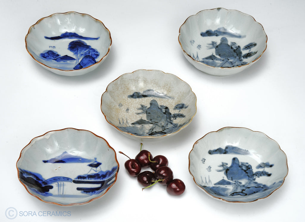 Imari small bowls, blue and white, scalloped edges