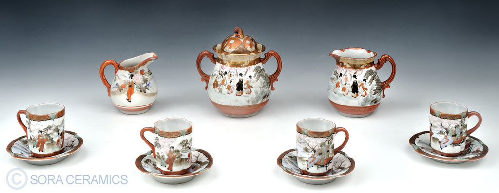 Imari tea set, 7 pieces, polychrome on white