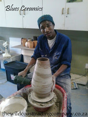 Blues ceramics at work in the studio