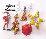Christmas Decorations - Pack of 5 - African Beaded Wire Ornaments