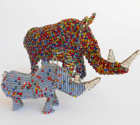 Rhino - African Beaded Wire Animal Sculpture, Clever Wire, Wire Animal Sculptures- The Wild Coast Trading Company