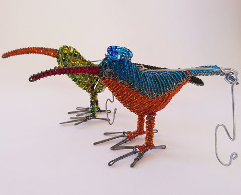 Bird - African Beaded Wire Animal Sculpture, Clever Wire, Wire Animal Sculptures- The Wild Coast Trading Company