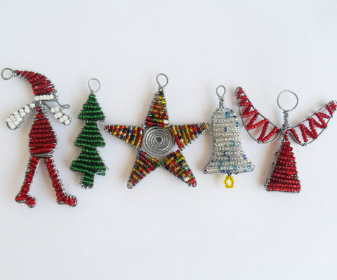 christmas decorations pack of 5 african beaded wire ornaments - African Christmas Decorations