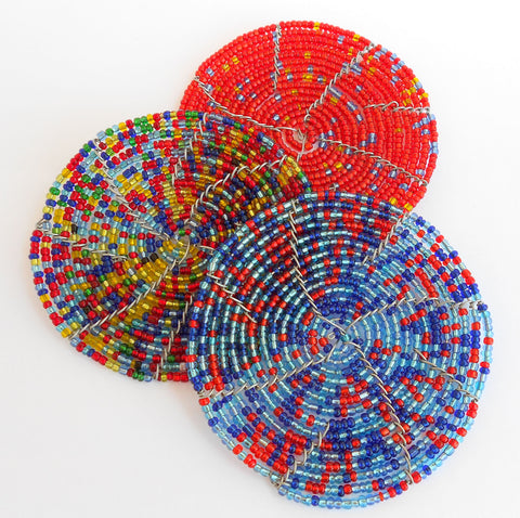 Coasters - Set of 6 - African Beaded Wire, Clever Wire, Coasters- The Wild Coast Trading Company