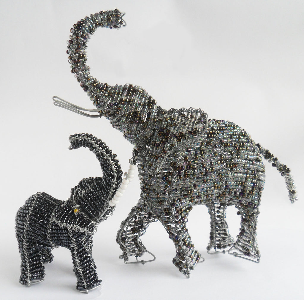 Buy African beaded wire elephant sculpture-Wild Coast Trading – The ...