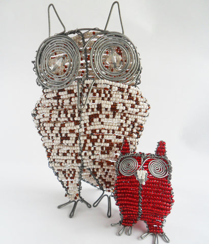 Owl - African Beaded Wire Animal Sculpture, Clever Wire, Wire Animal Sculptures- The Wild Coast Trading Company