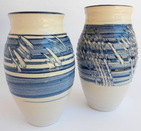 Blue Spiral Pine Engraved Ceramic Vases, John Steele, Vases- The Wild Coast Trading Company