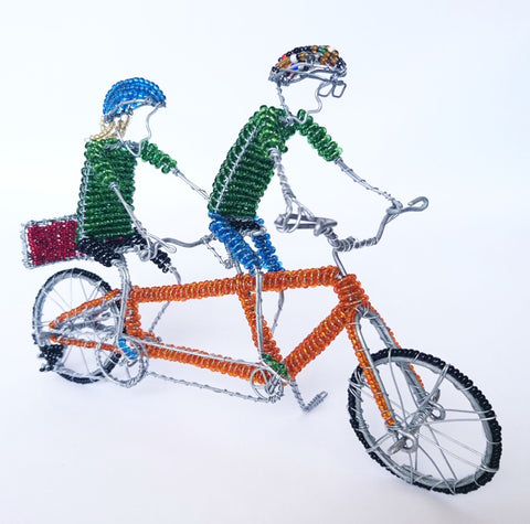 Beaded Wire Tandem Bicycle, Johnson Sithole, Wire Sculptures- The Wild Coast Trading Company