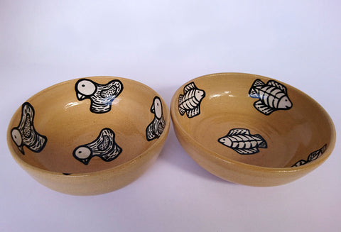Ceramic Fish & Bird Bowls, Khabane Pottery, Bowls- The Wild Coast Trading Company