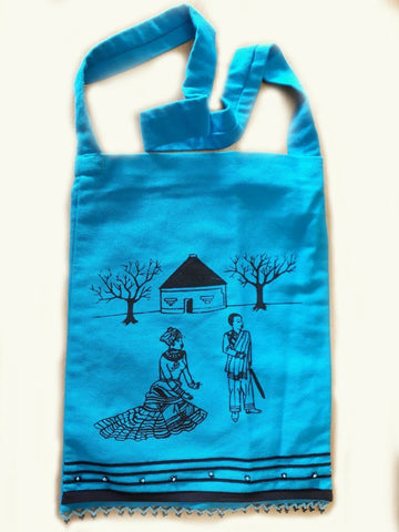 Inxili Xhosa bag with Transkei Village Screenprint