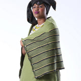 Xhosa Umbhaco Bhayi Shawl with Two Tone Braiding