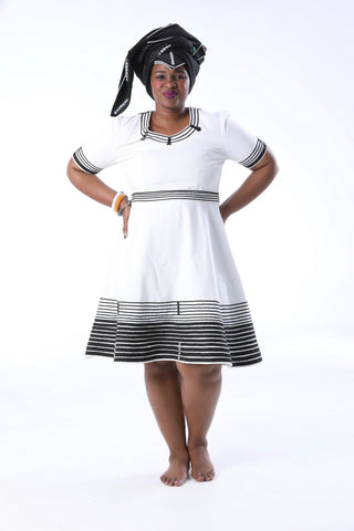 African Black & White Umbhaco Flared Dress