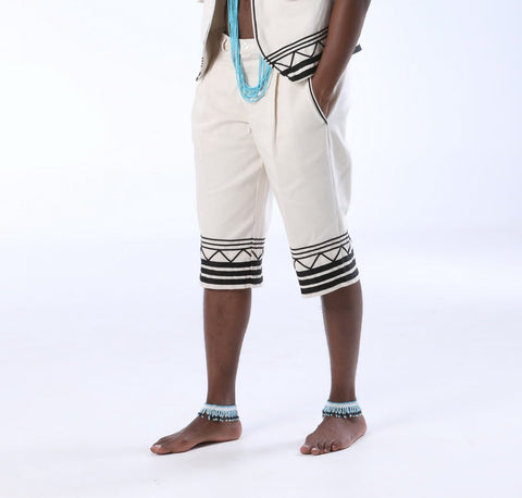 Mens African Umbhaco Shorts with Braiding
