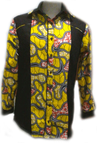 Mens Two Toned Long Sleeve African Shirt