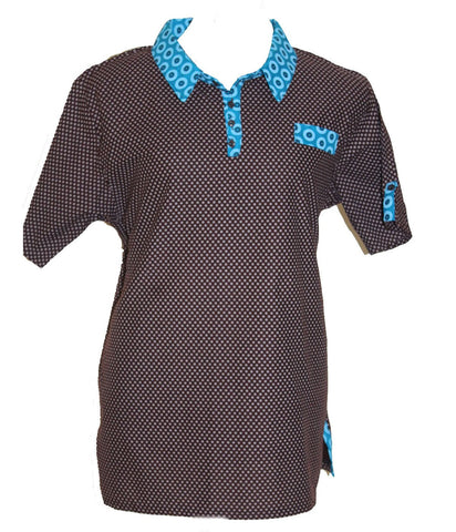 Shweshwe Men's Golf Style Shirt, Molly Rusi, Shirts- The Wild Coast Trading Company