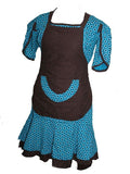 Shweshwe Dress, Apron & Doek, Molly Rusi, Dresses- The Wild Coast Trading Company