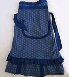 Pleated Shweshwe Skirt Apron & Doek Set, Molly Rusi, Skirts- The Wild Coast Trading Company