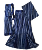 Pleated Shweshwe Skirt Apron & Doek Set