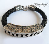 Silver & Leather MAN Bracelet, Wild By Design, Bracelets- The Wild Coast Trading Company