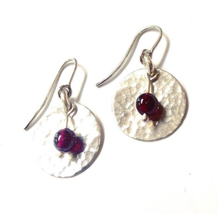 Garnet and Textured Sterling Silver Earrings
