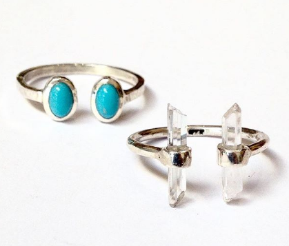 Open Shank Sterling Silver Rings in Turquoise or Clear Quartz