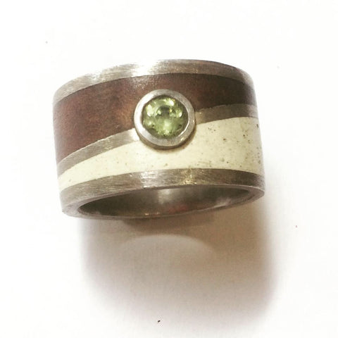 Peridot, Sterling Silver, Mahogany & Epoxy Ring