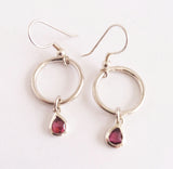 Garnet Pear Silver Earrings, Wild By Design, Earrings- The Wild Coast Trading Company