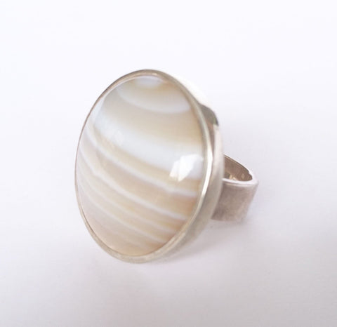Sterling Silver Creamy Agate Ring, Wild By Design, Rings- The Wild Coast Trading Company