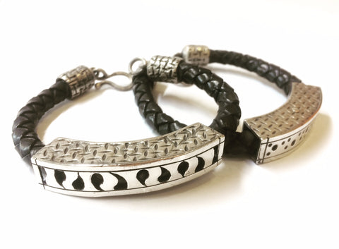 Silver & Leather MAN Bracelet