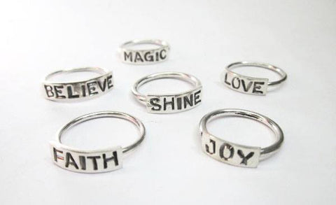 Stackable Word Rings in Sterling Silver, Wild By Design, Rings- The Wild Coast Trading Company