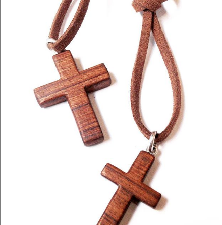 Wood & Sterling Silver Cross Pendant