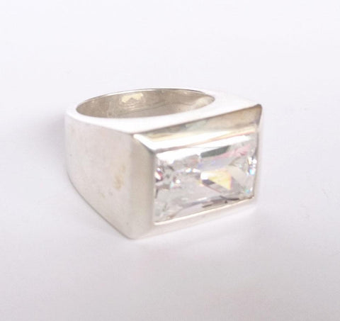Sterling Silver Rectangular Clear Quartz Ring, Wild By Design, Rings- The Wild Coast Trading Company