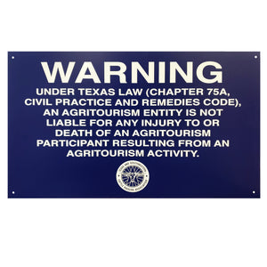 20X12 Plastic Agritourism Gate Sign (NEW!)