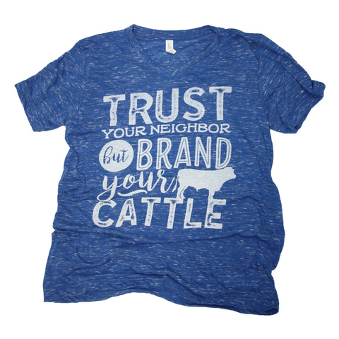 Ladies Cattle Brand  V-Neck Shirt