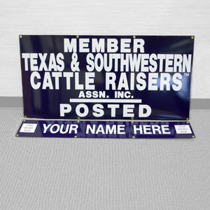 "TSCRA 48""x 24"" Personalized Gate Sign w/ 48"" x 8"" ID Panel"