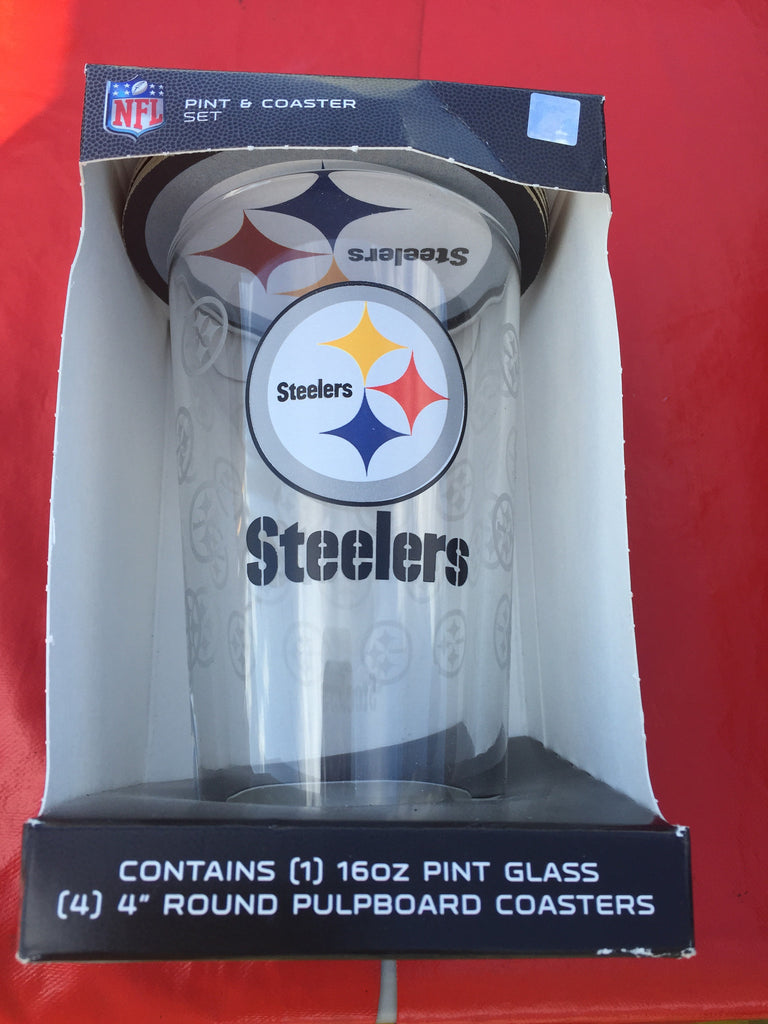 Steelers Pint Glass w 4 Coasters