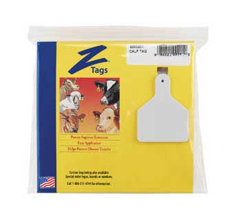 Z TAGS ONE-PIECE CALF EAR TAGS BLANK 25 Count